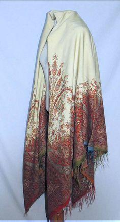 "Victorian CA 1860s Square Woven Wool Paisley Ivory Shawl | eBay seller shastasvintage; 66"" x 68"""
