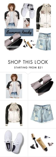 """""""Summer Ready: The Bomber Jacket"""" by tracey-mason ❤ liked on Polyvore featuring Jil Sander, Topshop, Chicnova Fashion, Keds and Jane Iredale"""