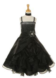 Black Organza Ruffle Girl Dress