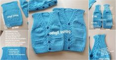 Narrated Baby Vest for Beginners Baby Knitting Patterns, Baby Booties Knitting Pattern, Sweater Hat, Baby Cardigan, Crochet For Boys, Crochet Baby, Toddler Vest, Moda Outfits, Origami For Beginners