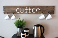This handmade rustic coffee sign is the perfect fit for any kitchen or coffee bar needing to be spruced up! Complete with four hooks, this sign brings stylish and practical together. Pallet Crafts, Pallet Art, Diy Wood Projects, Wood Crafts, Coffee Bar Home, Coffee Shop, Mac Coffee, Coffee Bars, Coffee Menu