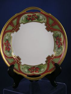 "T Limoges Arts & Crafts Nasturtium Motif Handled Bowl (Signed ""L.M.H.""/c.1892-1907)"