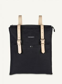 Style and function collide with the Marimekko Eppu Black Backpack. Unlike a traditional backpack, the Eppu bag is rectangular in shape and includes a zipper across the top and an exterior, snap-button pocket. Marimekko, Mochila Herschel, Back Bag, Cloth Bags, Black Backpack, Hermes Birkin, School Bags, Fashion Prints, Bag Accessories