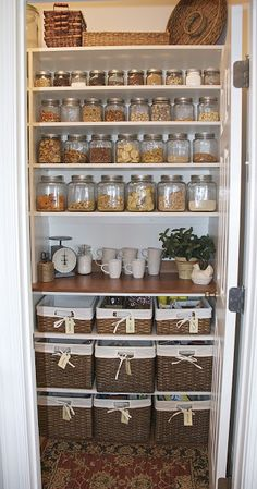 Organizing The Pantry Ideas : love the wicker baskets and the counter-like shelf for setting things on while working!