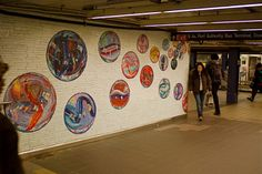 """Subway Art: Lisa Dinhofer's mosaic wall-""""Losing My Marbles""""-I love this one!"""