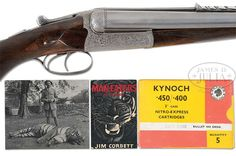 For Sale! Jim Corbett's Tiger Rifle - the best quality boxlock .450-400 by W.J. Jeffery & Co., with which he killed so many man-eating tigers for the Indian government.