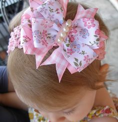 Hair Bow Pink Floral Layered Boutique Bow by SweetEmmieBowtique, $7.50