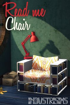 Read Me ChairLiving I City Living I by industrisims via tumblr I Sims 4 I TS4 I Maxis Match I MM I CC I Cool for tiny apartments ;)