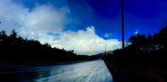 winter rainbow Beautiful Pictures, Lens, Rainbow, Japan, Celestial, Sunset, Winter, Outdoor, Warm