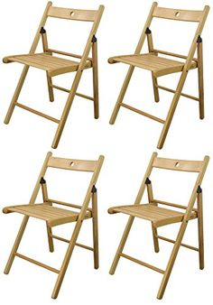 Harbour Housewares Wooden Folding Chairs   Natural Wood Colour   Pack Of 4