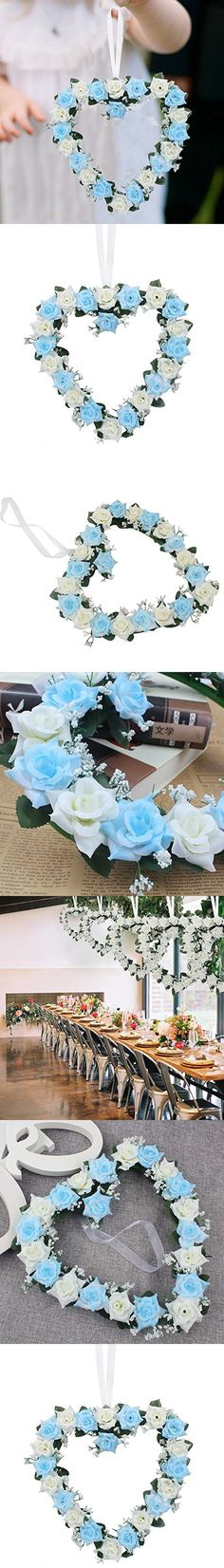 Adeeing 3PCS Heart-Shaped Rose Door Wall Hanging Wreaths Wedding Festival Decoration Blue and White