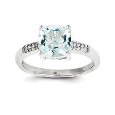 - Material: 14k White Gold (solid) - 3.2gm Width:2 mm Band - Open Back Plating:Rhodium Stone Type: Aquamarine Stone Creation Method:Natural Stone Treatment:Heating Stone Shape:Cushion Stone Color:Blue