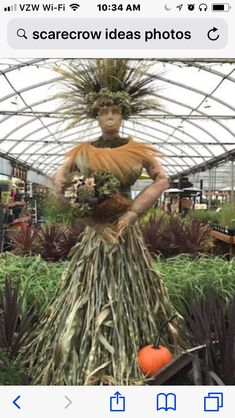 The Harvest Goddess -this would be a super cool fall decoration to make. a variation of course - Gardening School Fall Halloween, Halloween Crafts, Halloween Decorations, Scarecrows For Garden, Scarecrow Festival, Hallowen Costume, Yard Art, Fall Crafts, Gardens