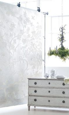 a low dresser Interior design inspired by mother of pearl hues - #white #interiordecor