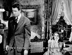 """""""He's making violent love to me, mother!"""" - James Stewart and Donna Reed in Frank Capra's """"It's a Wonderful Life"""", 1946."""