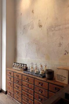 Entryway drawers- surveyor's cabinet