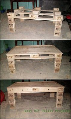Kreative Ideen für die Umnutzung von Holzpaletten Creative ideas for converting wooden pallets It would turn out to be stunning if you set the wooden pallet as a design concept for the table graphics. Pallet Furniture Designs, Wooden Pallet Projects, Wooden Pallet Furniture, Diy Furniture Projects, Wooden Pallets, Furniture Plans, 1001 Pallets, Furniture Cleaning, Furniture Repair