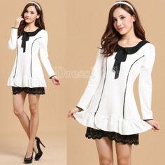 $18.10 Women's Preppy Style Turndown Collar Flouncing Contrast Color Long Sleeve Dress