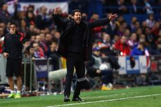Head coach Diego Simeone of Atletico reacts during the UEFA Champions league Quarter Final Second Leg match between Club Atletico de Madrid and FC Barcelona at Vincente Calderon on April 13, 2016 in Madrid