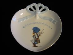 """Holly Hobbie porcelain Dish """"Let love sweeten all you do"""" Blue Girl # 23531 Excellent condition. Vintage Crockery, Holly Hobbie, American Greetings, Sale Sale, Porcelain, Let It Be, Dishes, How To Make, Etsy"""