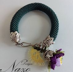 Beaded bracelet - Beaded Crochet Bracelet - Green Bracelet. $12.50, via Etsy.