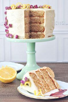 Lemon Elderflower Layer Cake  with tofu white chocolate frosting @spabettie #vegan #glutenfree #royalwedding #cake #dessert