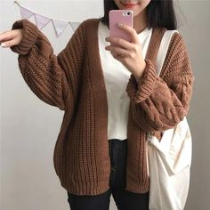 Brown Cardigan Outfit, Cardigan Outfits, Sweater Cardigan, Big Sweater, Chunky Knit Cardigan, The Cardigans, Sweaters For Women, Cheap Sweaters, Women's Sweaters