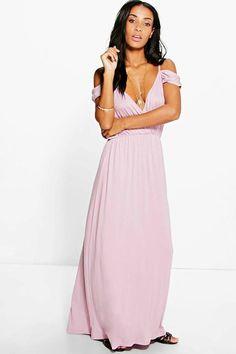 64388d8f8f0bd3 boohoo Grace Cold Shoulder Rouched Maxi Dress Mauve Color