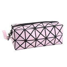 Moda Geometrica Zipper Cosmetic Bag Women Laser Flash Diamante Signore Cosmetici Dell'organizzatore di Trucco del Sacchetto di Cuoio Nuova Tendenza 2016