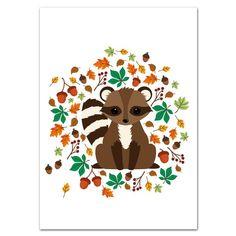 Oktoberdots Postkaart Seasons Herfst Wasbeer