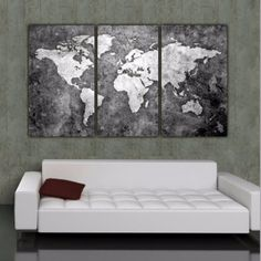 World map canvas wall painting home decor vintage large canvas print bw world map art on canvas gumiabroncs Image collections