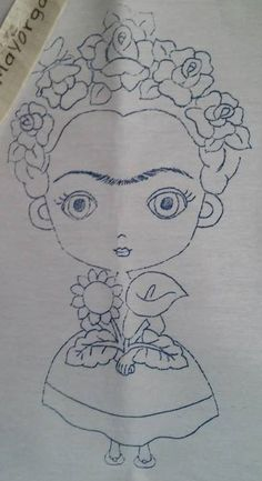 Frida calo – - Decay Tutorial and Ideas Mexican Embroidery, Hand Embroidery Patterns, Embroidery Stitches, Cross Stitch Patterns, Coloring Books, Coloring Pages, Baby Knitting, Applique, Creations