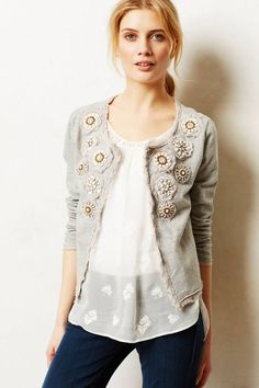 embellished raw edge circular medallions, a layer of knit, a layer of voile/organdy, and a mandala of beads