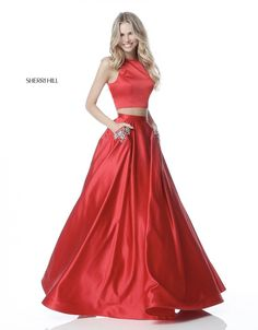b8ff6821180 Sherri Hill 51587 Red Ballgown 2 Piece with beaded pockets Prom Pageant  Ypsilon Dresses Formal Formalwear Homecoming