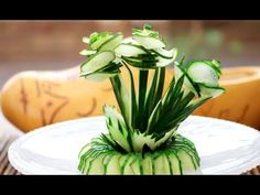 Art In Cucumber Show  | Vegetable Carving Garnish | Cucumber Rose - YouTube (I think a radish rose would give great contrast)