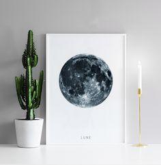 Poster, tavla med månen | Svartvita posters och prints