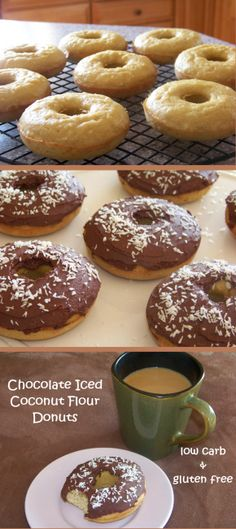 Chocolate Iced Coconut Donuts - low carb and gluten free!
