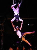 """High−flying buffoons Die Maiers describe their trapeze and juggling act as """"air/ground tomfoolery."""" The pair, Sabine Maier and Joachim Mohr, met in 1987 and fell in love immediately. Together they studied circus−skills and performing arts at Ecole sans Filet in Brussels, and went on to perform their hilarious and athletic act at festivals and circuses and theater shows around the world."""