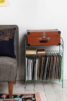 Mint record + turntable storage shelf