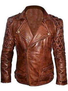 Mens Classic Diamond Motorcycle Biker Brown Distressed Vintage Leather Jacket