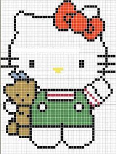 Bordados da Hello Kitty em ponto cruz - Bolsa de Mulher