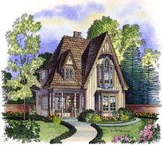 storybook cottage house plans  Stock plan from Hendricks     Elevation of Bungalow Victorian House Plan 86000