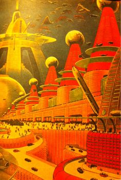 "Frank R. Paul's ""City of the Future,"" published on the back cover of Amazing Stories in April 1942"
