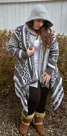 Fashionista: Coat and Sweaters for Plus Size. Love the sweater, would look better without the hoodie under it.