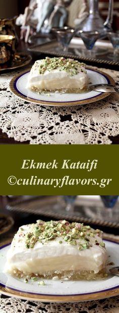 Ekmek Kataifi | Delicious layers of kataifi phylo, aromatized cream and whipped cream | culinaryflavors.gr | #kataifi #phylo #middleeastern #greek #sweet #dessert #cream #mastic #lemon #custard Greek Sweets, Greek Desserts, Greek Recipes, Easy Desserts, Wine Recipes, Delicious Desserts, Dessert Recipes, Yummy Food, Chaldean Recipe