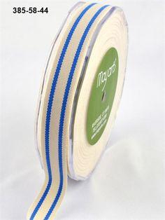 The Ribbon Reel. 16mm Organic Cotton Stripe PERIWINKLE