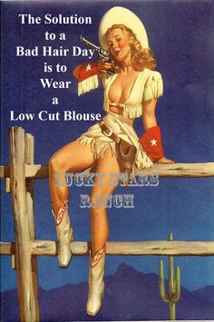 """Blank Note Card - Vintage Cowgir! """"SOLUTION TO A BAD HAIR DAY"""""""