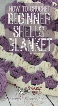 Easy Crochet Afghans Crochet Beginner Shells Blanket by Marly Bird Free Pattern and Video Tutorial - It is time to learn how to crochet beginner shells blanket by Marly Bird! Made with simple stitches, Sweet yarn by Red Heart Yarns, and a big hook, this Beginner Crochet Tutorial, Crochet Stitches For Beginners, Beginner Crochet Projects, Crochet Stitches Patterns, Knitting For Beginners, Afghan Patterns, Knitting Patterns, Start Knitting, Easy Crochet Blanket