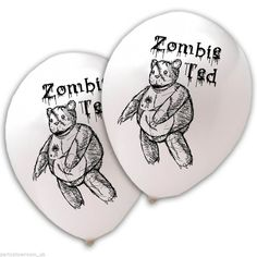 20 Halloween Horror Printed White Balloons ZOMBIE TED PS #Partyshowroom #Halloween
