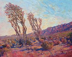 Borrego Springs ocotillo desert painting, artwork for outdoor lovers, by artist Erin Hanson